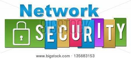Network security text alphabets written colorful background.