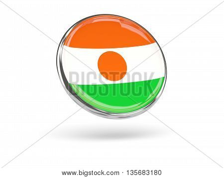Flag Of Niger. Round Icon With Metal Frame