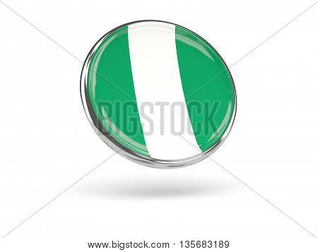 Flag Of Nigeria. Round Icon With Metal Frame
