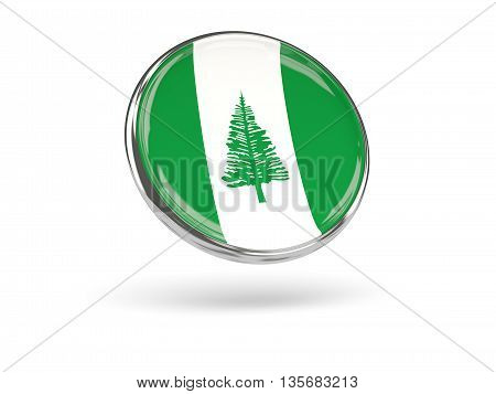 Flag Of Norfolk Island. Round Icon With Metal Frame