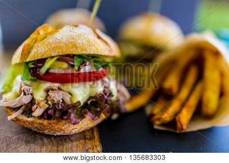 Beef burger with fresh vegetables, Delicious homemade burger, bavette