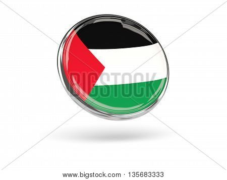 Flag Of Palestinian Territory. Round Icon With Metal Frame