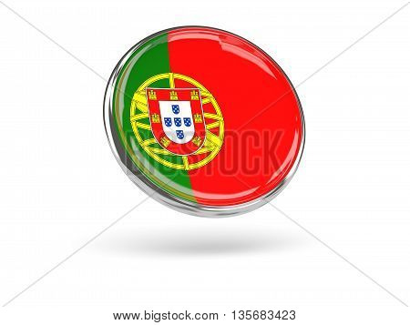Flag Of Portugal. Round Icon With Metal Frame