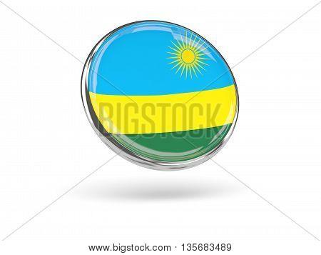 Flag Of Rwanda. Round Icon With Metal Frame