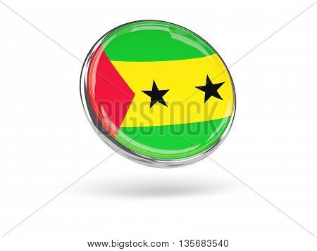 Flag Of Sao Tome And Principe. Round Icon With Metal Frame