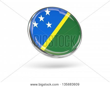 Flag Of Solomon Islands. Round Icon With Metal Frame