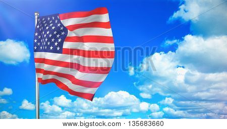US flag against scenic view of blue sky