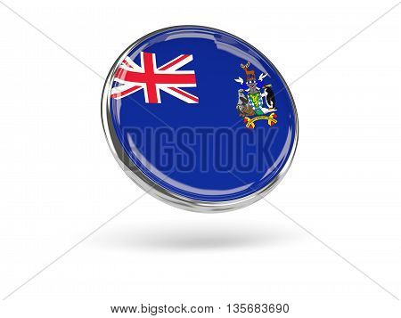 Flag Of South Georgia And The South Sandwich Islands. Round Icon With Metal Frame