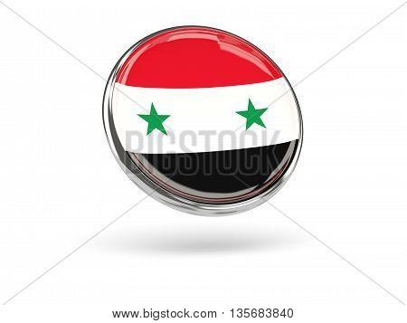 Flag Of Syria. Round Icon With Metal Frame