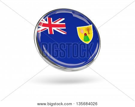 Flag Of Turks And Caicos Islands. Round Icon With Metal Frame