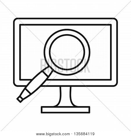 Computer monitor magnifying glass icon in outline style isolated on white background