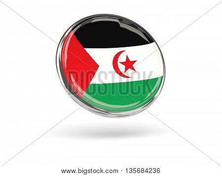 Flag Of Western Sahara. Round Icon With Metal Frame