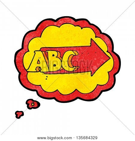 freehand drawn thought bubble textured cartoon ABC symbol