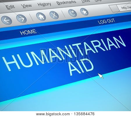 Illustration Depicting A Computer Screen Capture With A Humanitarian Aid Concept.