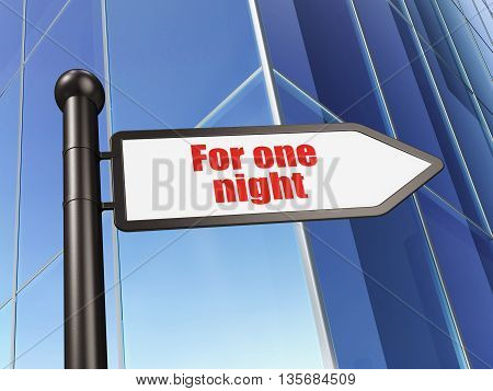 Vacation concept: sign For One Night on Building background, 3D rendering