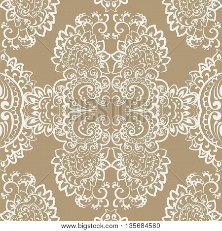 Vector vintage ornament Oriental motif style. Ornate element for design wedding invitations greeting cards fabrics texture. Rich gold color