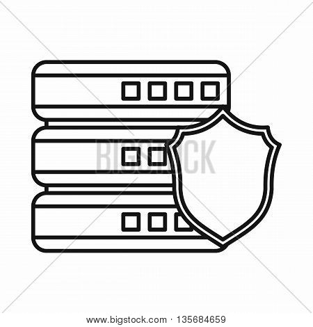 Database with gray shield icon in outline style isolated on white background