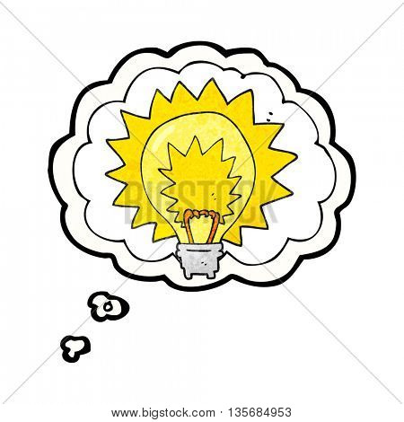 freehand drawn thought bubble textured cartoon light bulb shining