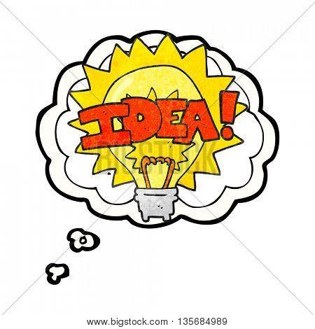freehand drawn thought bubble textured cartoon idea light bulb symbol