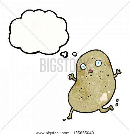 freehand drawn thought bubble textured cartoon potato running