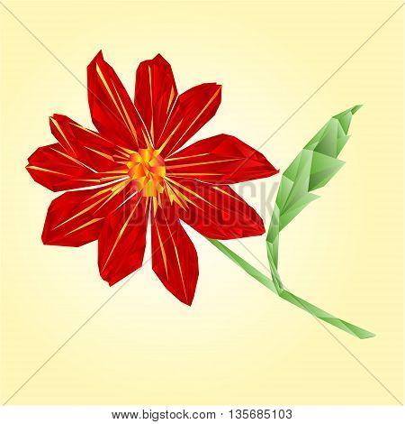 Red dahlia polygons summer flower stem Vector illustration