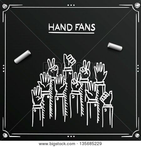 Chalkboard sketch fans hands up background cover