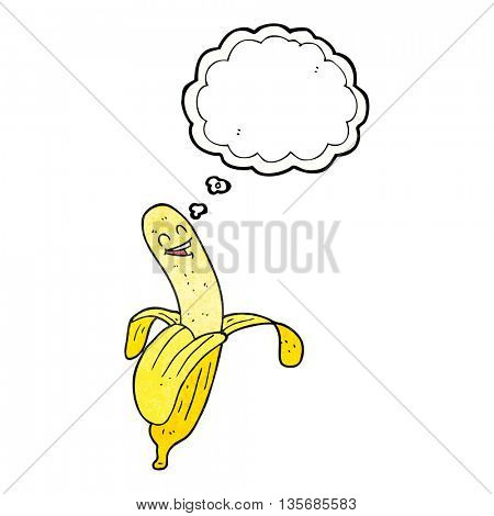 freehand drawn thought bubble textured cartoon banana