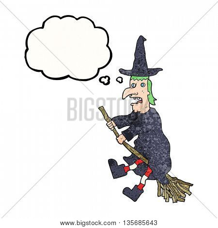 freehand drawn thought bubble textured cartoon witch flying on broom
