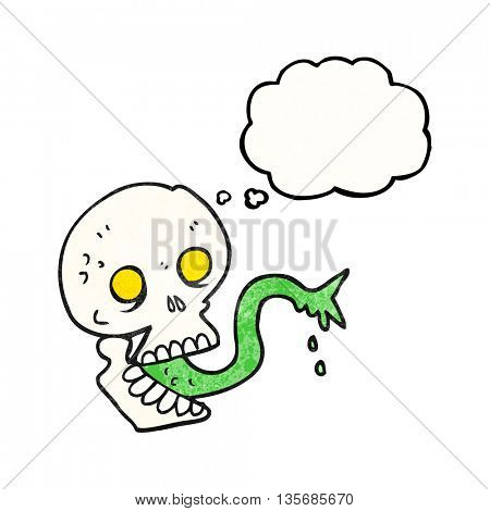freehand drawn thought bubble textured cartoon spooky halloween skull