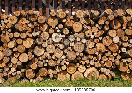 stack of firewood on the grass.wood logs background