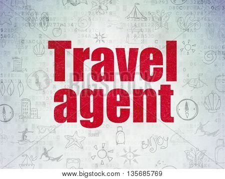 Vacation concept: Painted red text Travel Agent on Digital Data Paper background with   Hand Drawn Vacation Icons