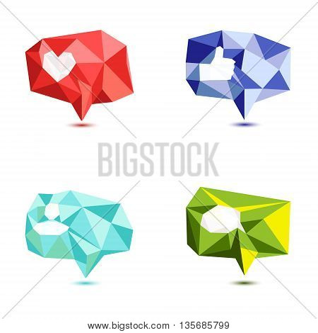 Like, comment, follower icon set made in polygonal style. Thumb up icon. Social media buttons, speech bubbles on white background. Notification web or application UI symbols. Low poly vector design.