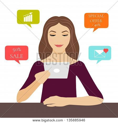 A young woman holding a tablet pc in her hand with internet symbols: sale, special offer, love email and growing graph. Computer tablet mockup. Cloud network vector icons. Mobile applications.