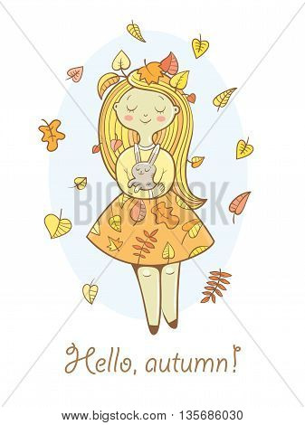 Postcard with cute cartoon  girl in  beautiful dress and bunny. Autumn season. Falling leaves. Children's illustration. Vector image.