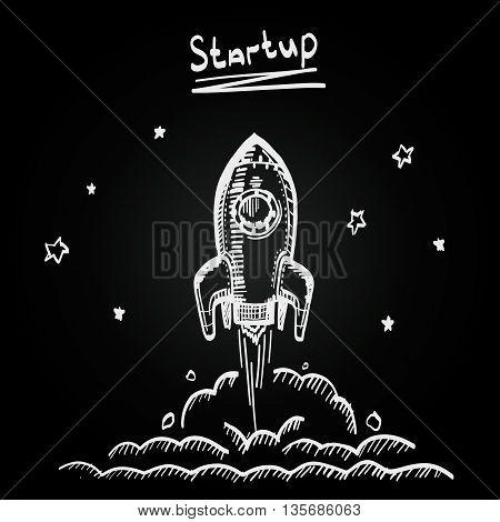 Chalkboard sketch rocket startup, Creative idea startup
