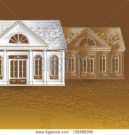 Vector retro illustration with old houses, stone pathway on brown background.