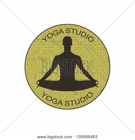 a man in the lotus position. yoga studio. vector illustration
