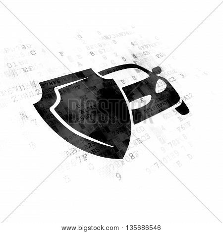 Insurance concept: Pixelated black Car And Shield icon on Digital background