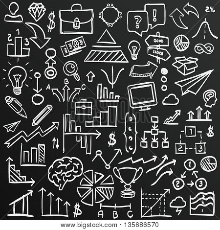 Chalkboard sketch icons set business, collection arrow scribble