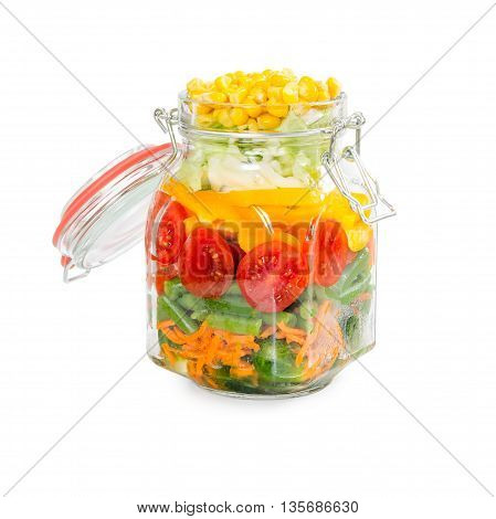 Prepared For Canning Colorful Vegetables In Glass Jar With Clip