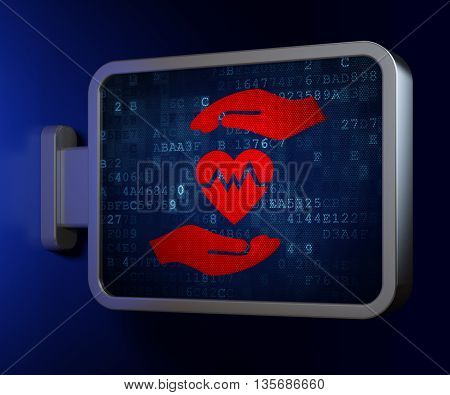 Insurance concept: Heart And Palm on advertising billboard background, 3D rendering
