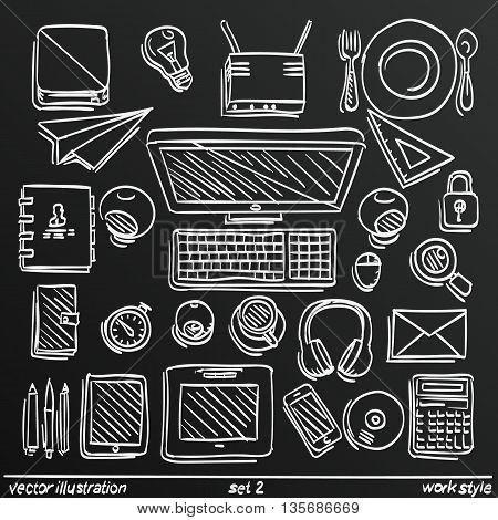 Chalkboard sketch work style, Sketch work set icon 2. Vector illustration
