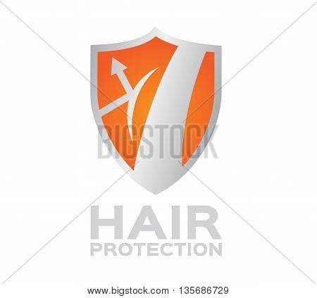 hair shield protection . hair orange set , logo vector and icon