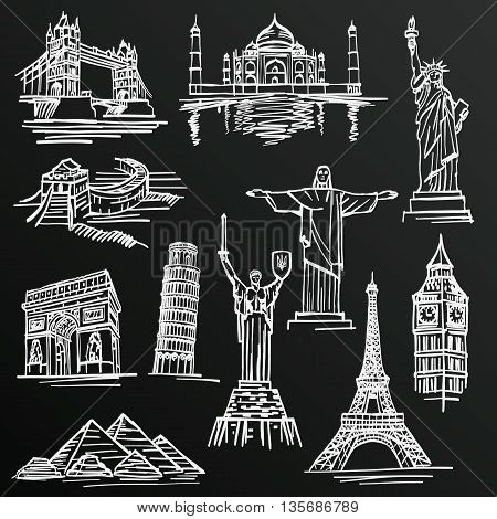 Chalkboard sketch of hand drawn tourist places, template design element