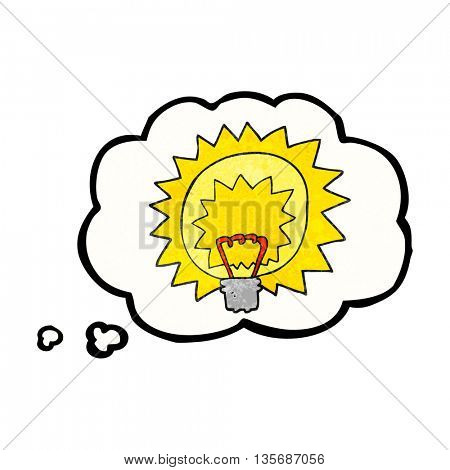 freehand drawn thought bubble textured cartoon light bulb