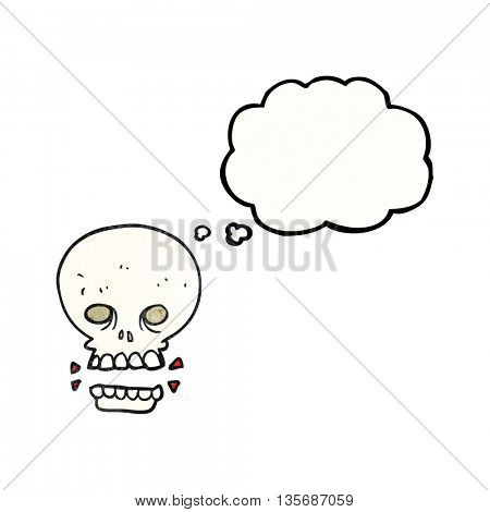 freehand drawn thought bubble textured cartoon scary skull