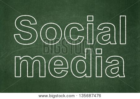 Social network concept: text Social Media on Green chalkboard background
