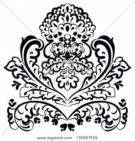 Vector lace floral element in Eastern style. Ornamental lace pattern for wedding invitations and greeting cards backgrounds fabrics textile. Traditional decor. Black