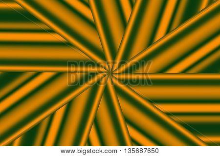 Illustration of an orange and dark green star pattern