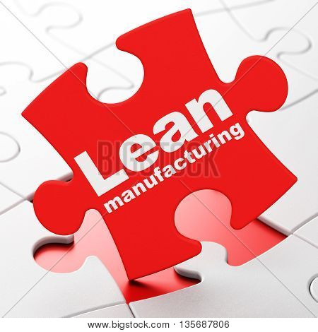 Industry concept: Lean Manufacturing on Red puzzle pieces background, 3D rendering